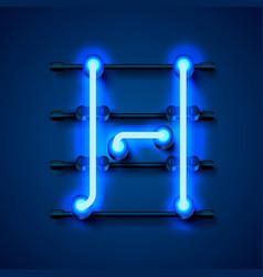 Neon font letter h art design signboard vector
