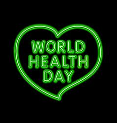neon heart sign green fluorescent light vector image