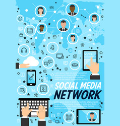 Network social media technology concept vector