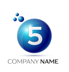 Number five splash logo blue dots and bubbles vector
