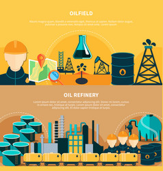 Oil refinery horizontal banners vector