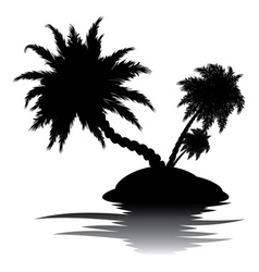 Palm Tree on Island Silhouette3 vector