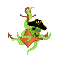 pirate octopus and anchor filibuster devilfish vector image