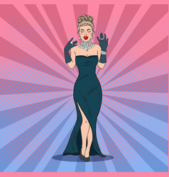 Pop art glamour woman with diamond jewelry vector