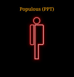 Red neon populous ppt cryptocurrency symbol vector