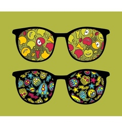 Retro sunglasses with apples reflection in it vector image