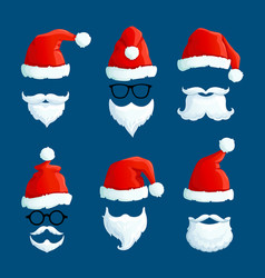 Santa hats with moustache and beards cartoon vector