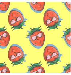 seamless pattern with strawberry cartoon smiling vector image