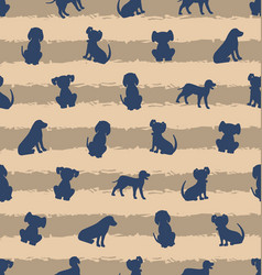 seamless template with different breeds of dogs vector image