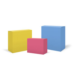 set of realistic colorful boxes mockups vector image