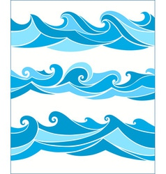 set seamless waves vector image
