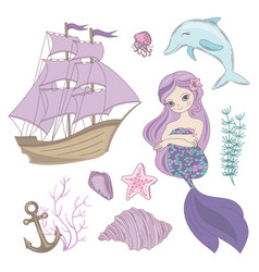 Siren mermaid sea ocean summer cruise vector