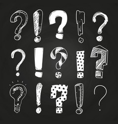 sketch question and exclamation marks vector image