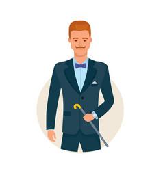 Smart graceful man cartoon character vector