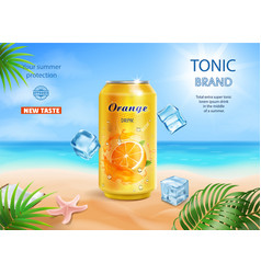 soft drink orange flavor contained in metal can vector image