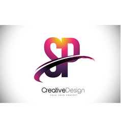 Sp s p purple letter logo with swoosh design vector
