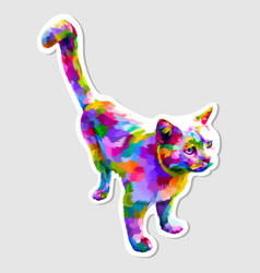 sticker colorful cute cat looking up vector image