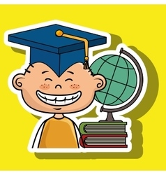 Student boy world map book vector