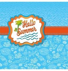 Summer design templateFunny Sea LifeSun label vector image