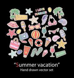 summer setscrapbookfashion patch badges vector image