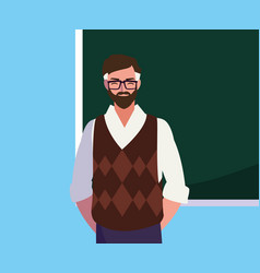 Teacher male with chalkboard character vector
