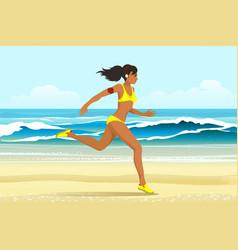 the girl run on the beach vector image