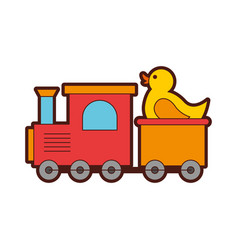 Train with rubber duck toy icon vector