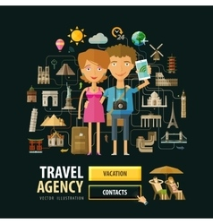 Travel agency logo design template vector image