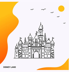 Travel disney land poster template vector