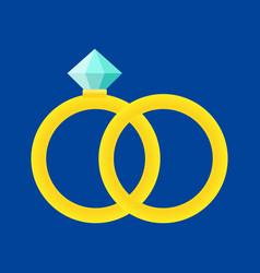two golden wedding rings vector image