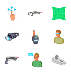 vr interface icons set cartoon style vector image