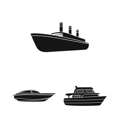 Water and sea transport black icons in set vector
