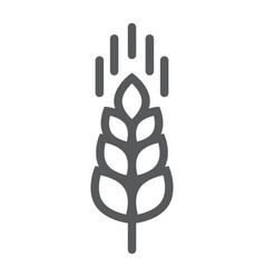 wheat ear line icon farming and agriculture vector image