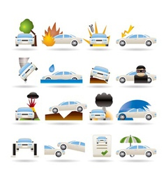 car and transportation insurance and risk icons vector image vector image