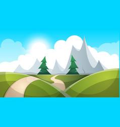 cartoon landscape sun road cloud vector image