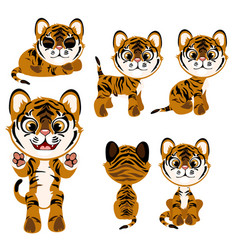 Cartoon tiger in different poses and mood vector