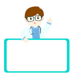 doctor explains and holds a blank white board vector image vector image