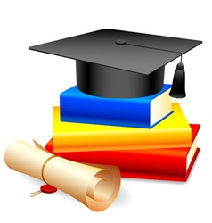 Graduation cap and books vector image vector image