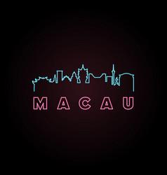 macau skyline neon style vector image vector image