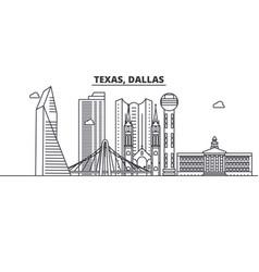 Texas dallas architecture line skyline vector
