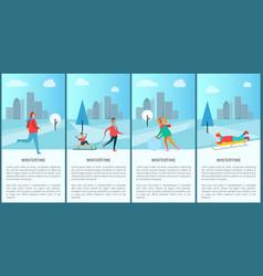 wintertime people activities vector image