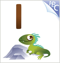 Animal alphabet for the kids I for the Iguana vector image vector image