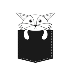 Fox in the pocket Cute cartoon contour character vector image