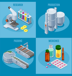 isometric pharmaceutical industry composition vector image