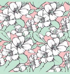 lemon blossom drawing seamless pattern vector image vector image