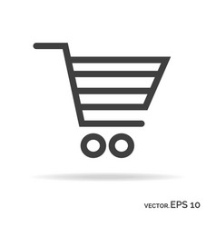 shopping cart outline icon black color vector image vector image
