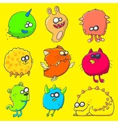 funny cartoon unusual monsters vector image vector image