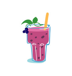 glass of fresh healthy blackberry smoothie vector image