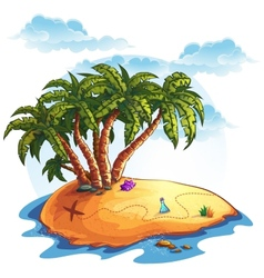 island with palm trees and treasures vector image