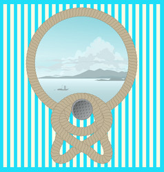 sea picture with a rope on a striped wall vector image vector image